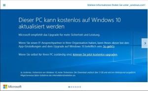 Windows 10 Upgrade-Hinweis